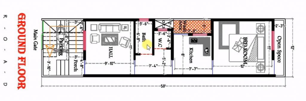 12x50 house plan