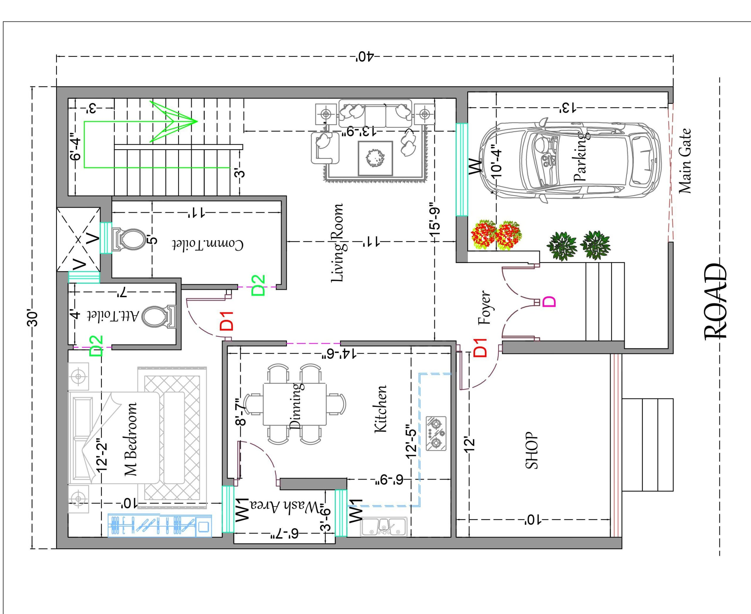 House Plan With Shop
