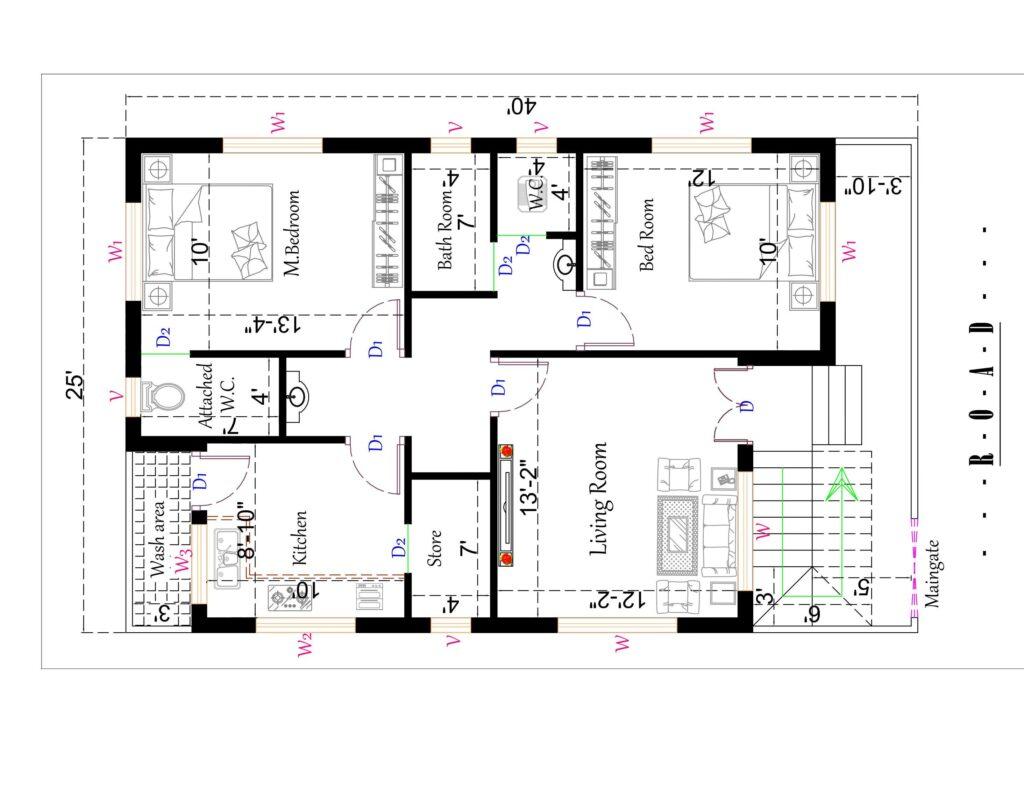 1000 sq. feet North Facing House Plan