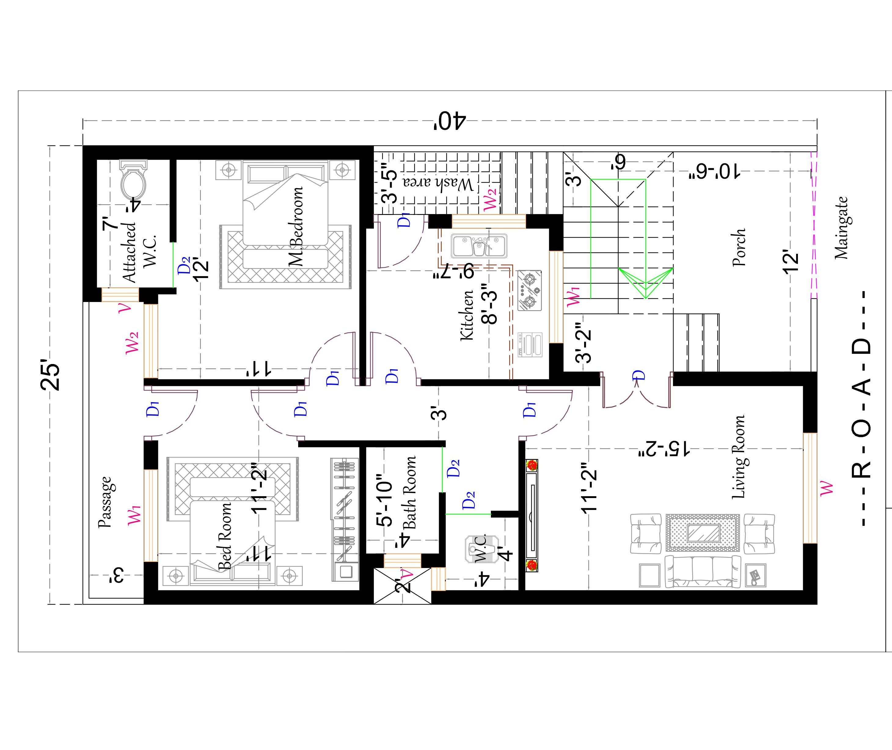 1000 sq. feet south facing house plan