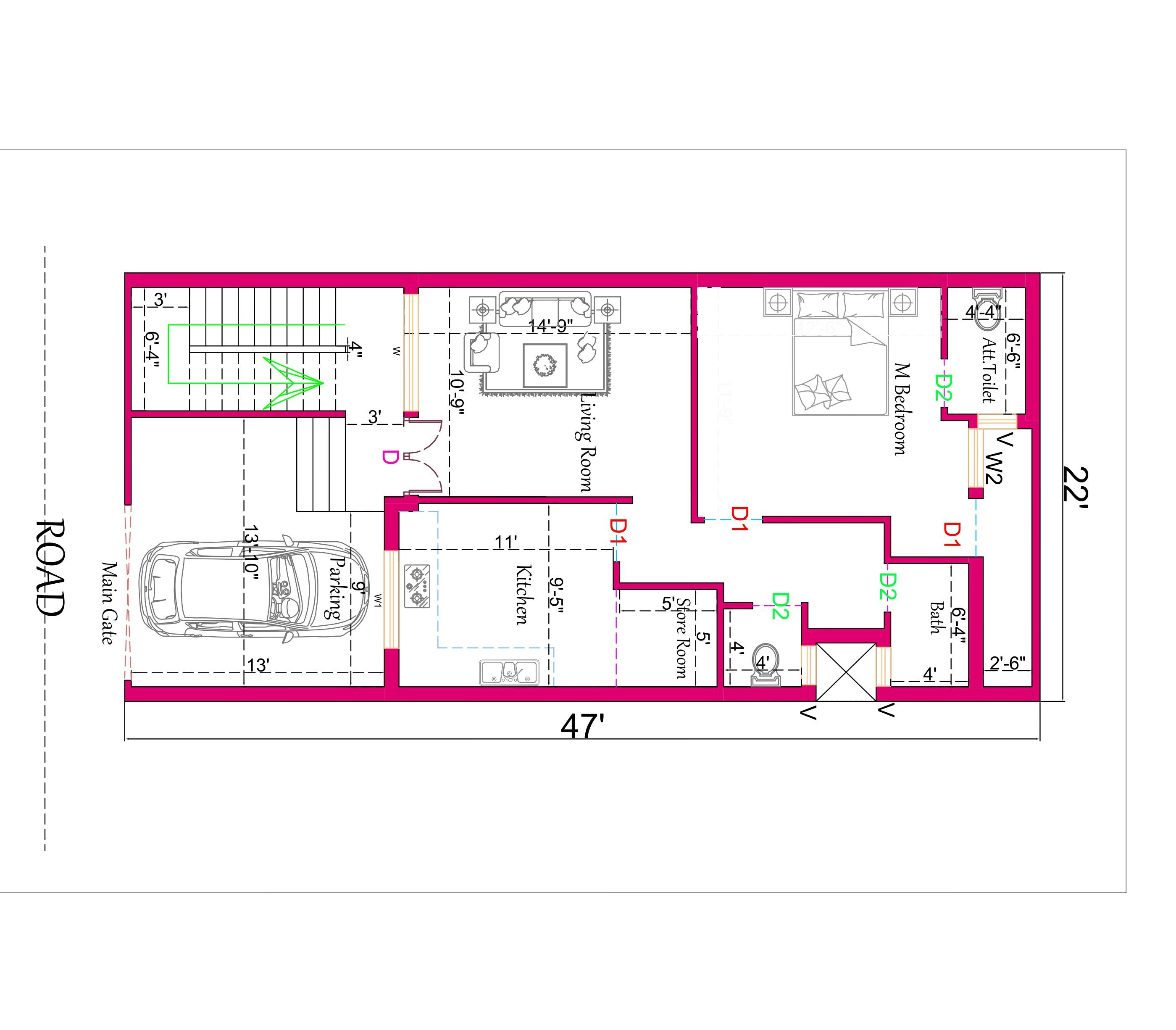 22×47 Small House Plan. (1 Bedroom House Plan)