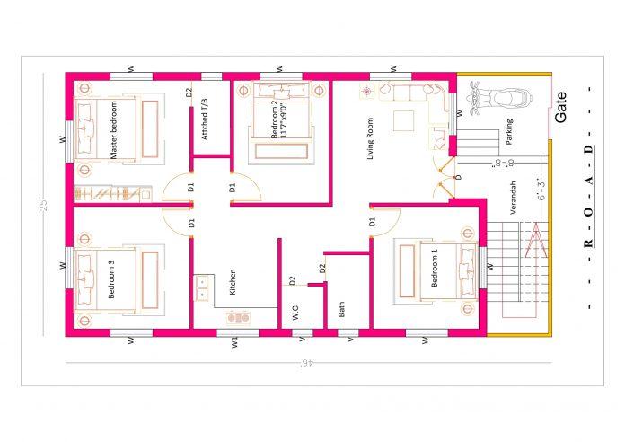 25x46 4bhk house plan