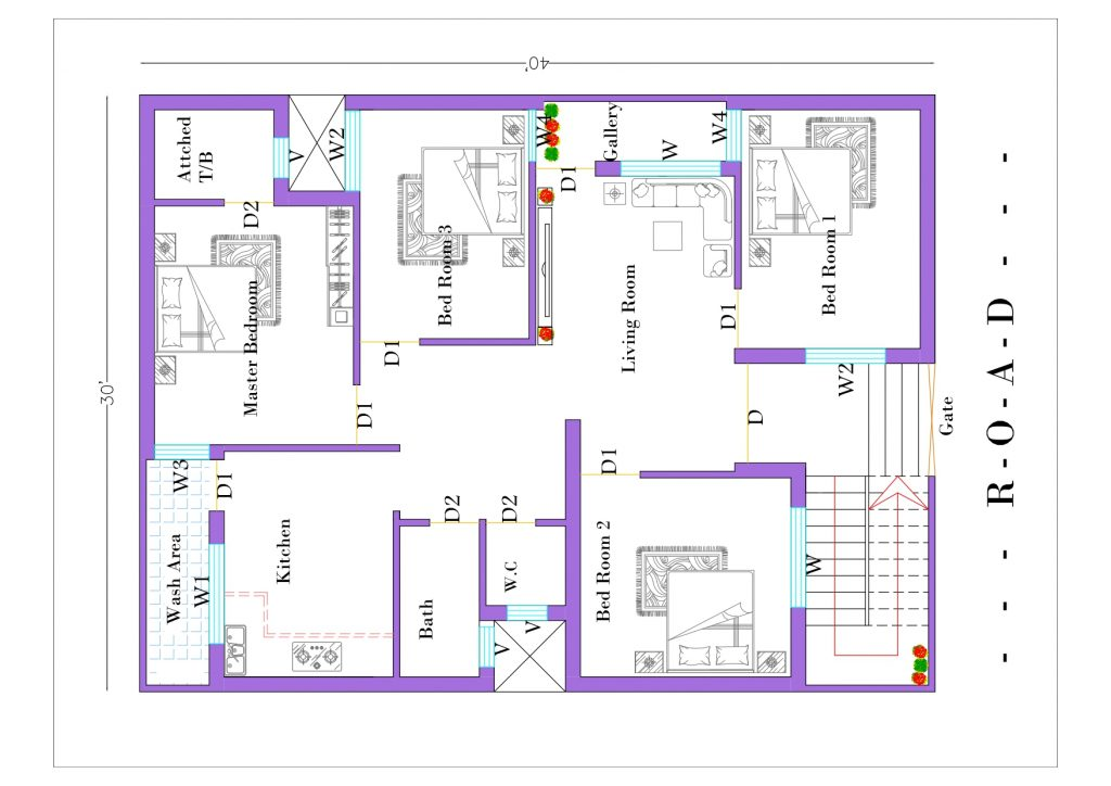 30x40 4BHK house plan