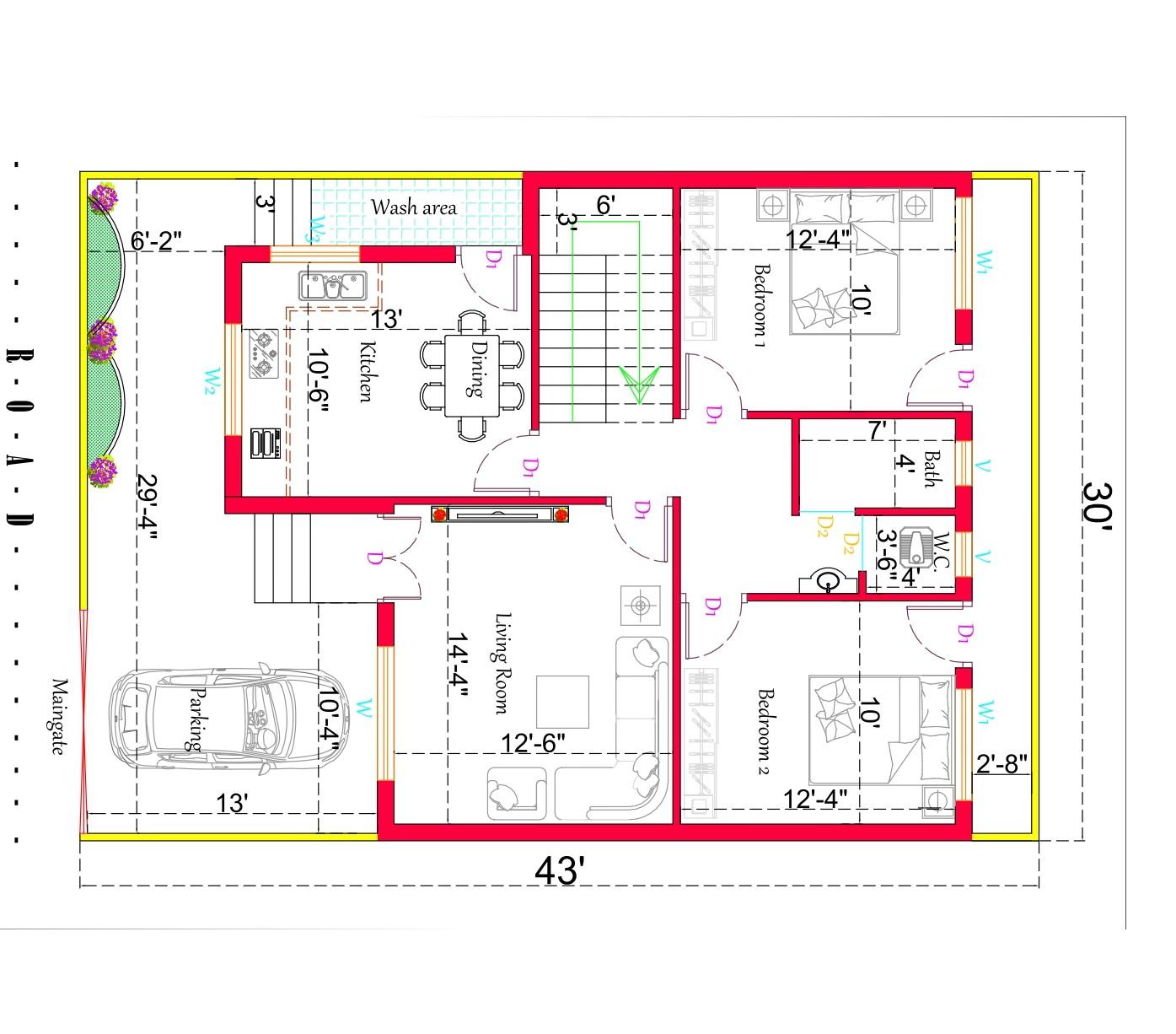 30×43 2 Bedroom House Plan. (East Facing House Plan)