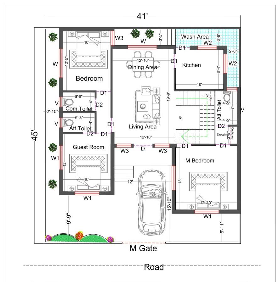 41×45 3 Bedroom House Plan (Duplex House Plan).