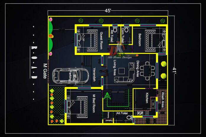 3 Bedroom House Plan. (Duplex House Plan)