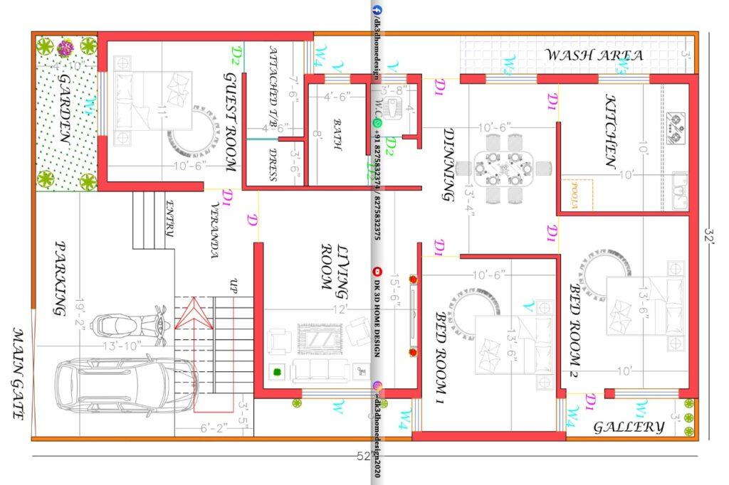 32x52 3 Bedroom House Plan.