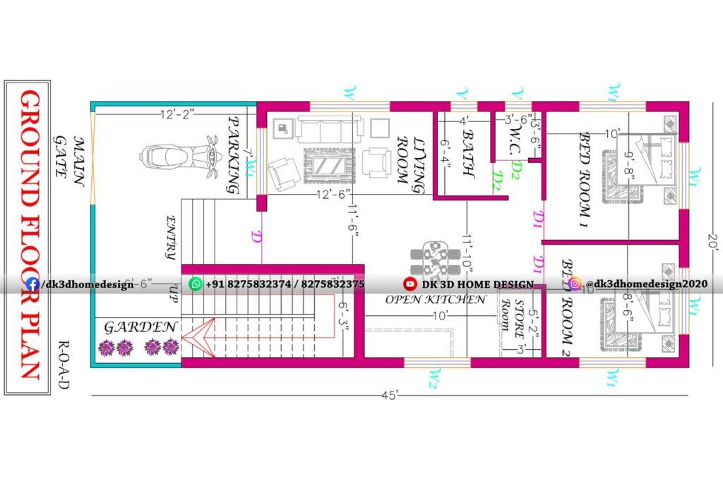 20×45 G+1 House Plan