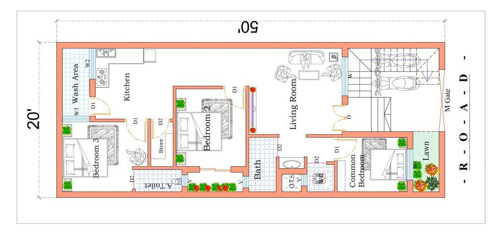 20x50 house plan