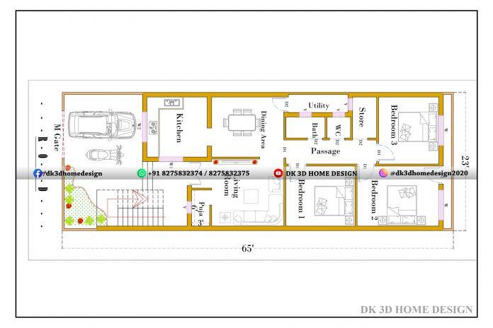 23x65 house plan