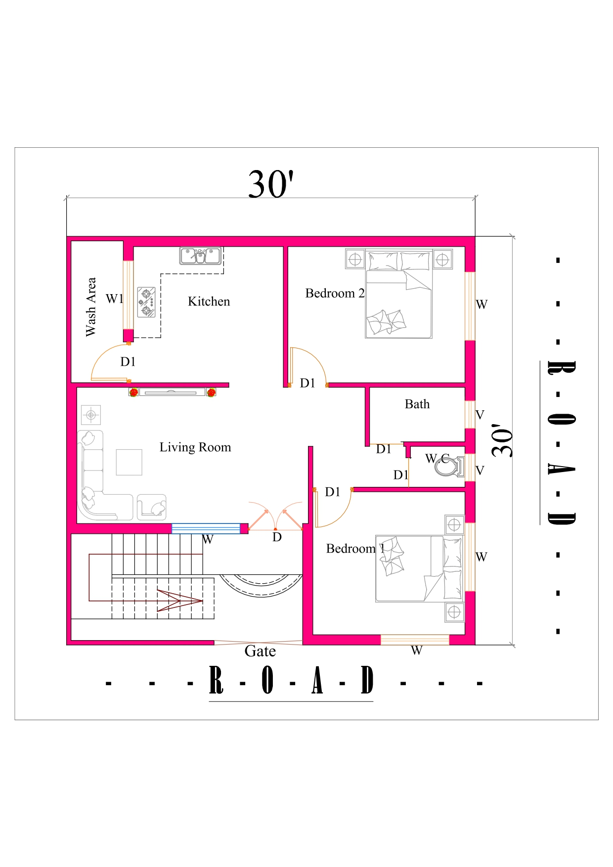30x30 2bhk House Plan In 900 Square Feet Area Dk 3d Home Design