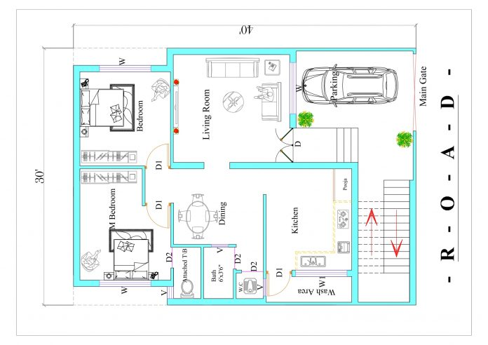 East Facing Vastu plan 30x40