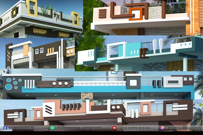 Parapet wall designs by DK 3D Home Design