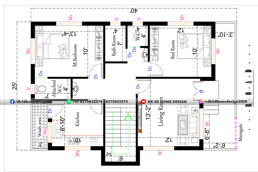25 by 40 house plan