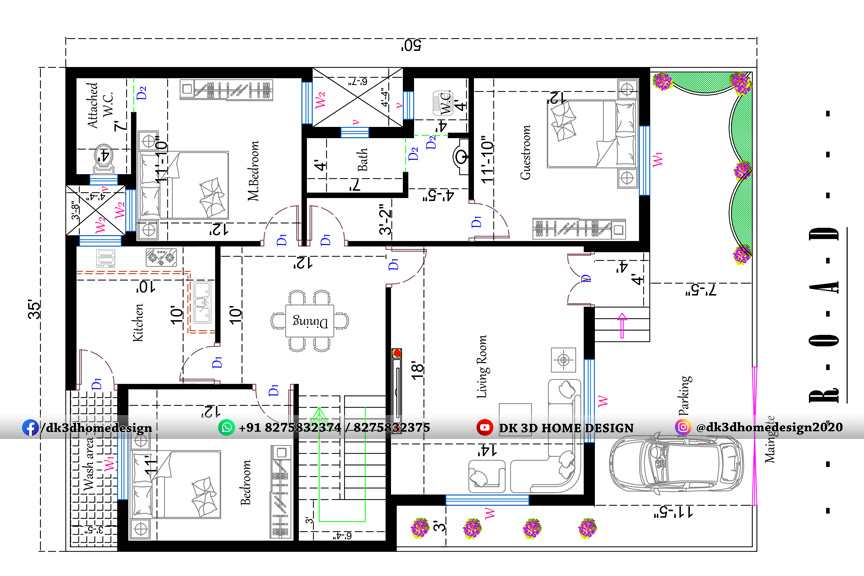 35 by 50 3BHK house plan