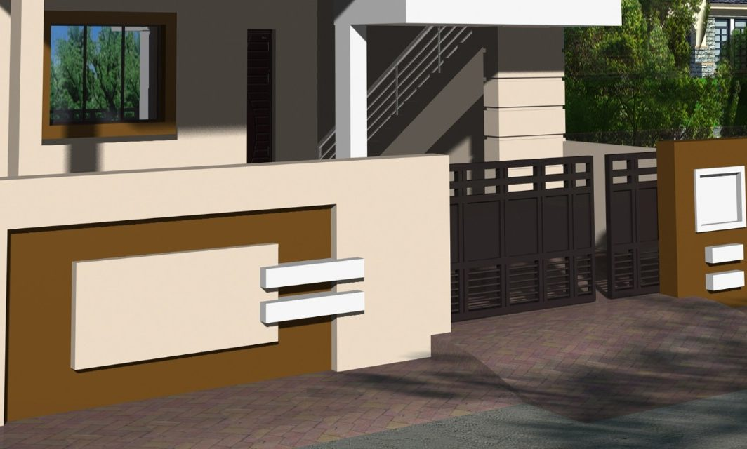 boundary wall design with gate