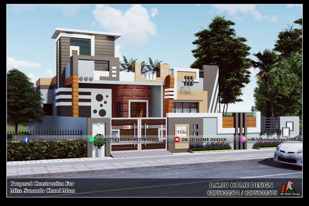 Modern single floor house design in village