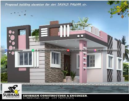 single floor house front elevation design