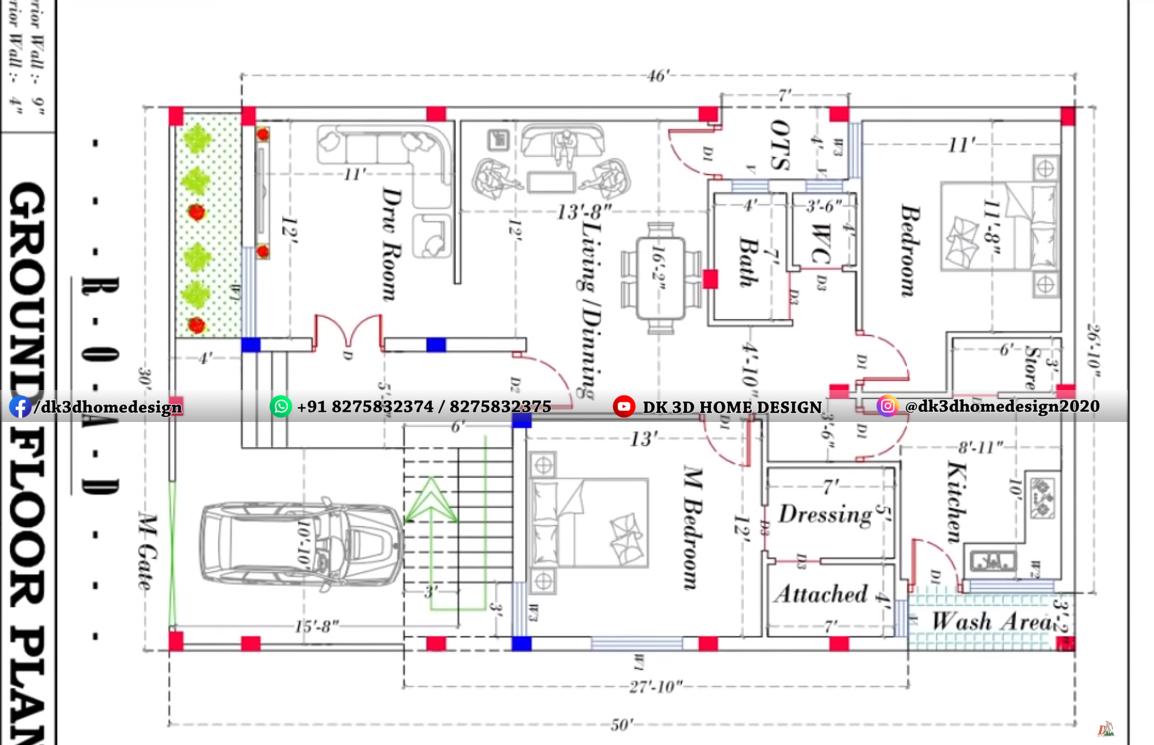 1500 sq ft double floor house plan