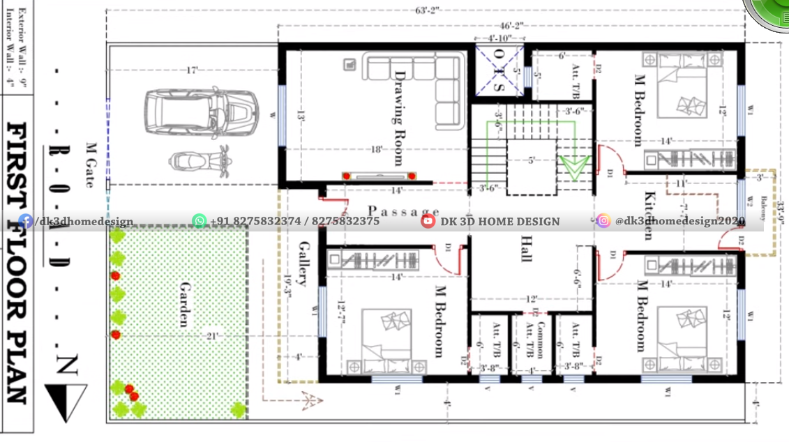 2000 square feet duplex house plan
