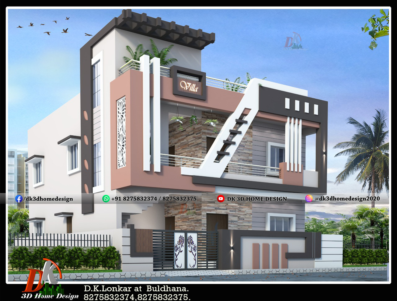 house front elevation design Indian style