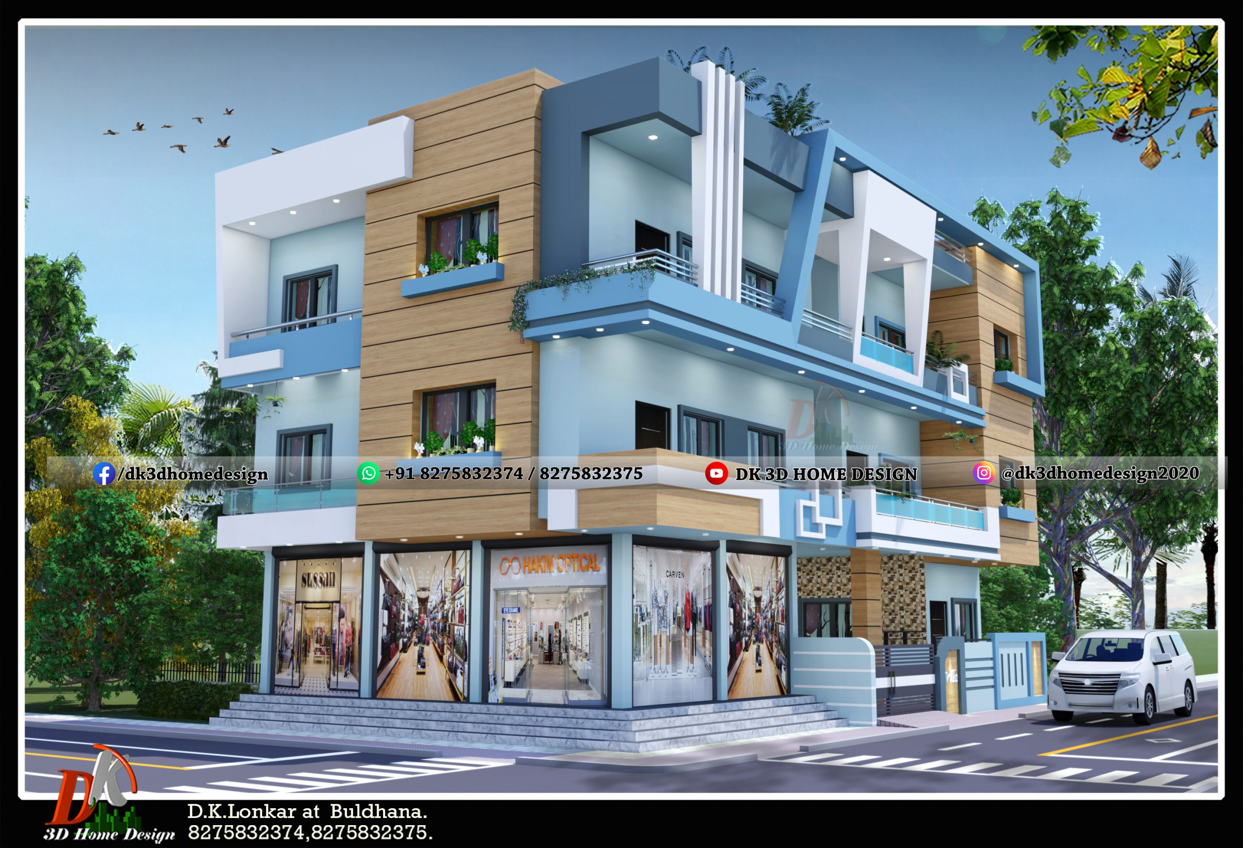 commercial and residential 3 floor building design