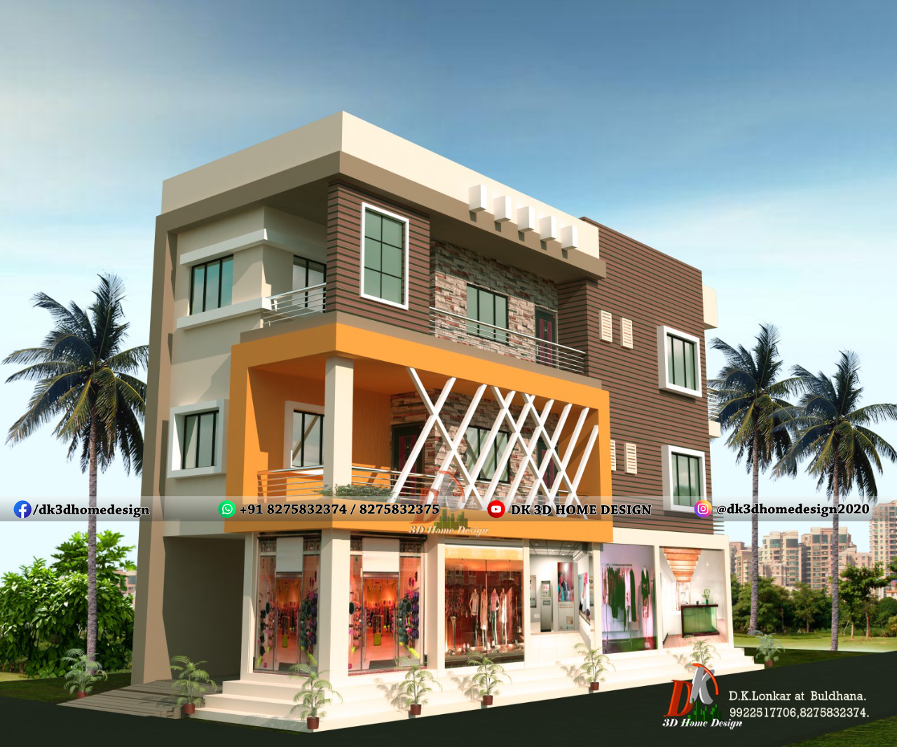 front elevation design for 3 floor house